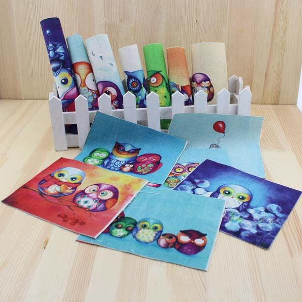 13pcs/lot night owl Hand dyed painting printed fabric cotton and linen handwork DIY digital printing cloth 15CM