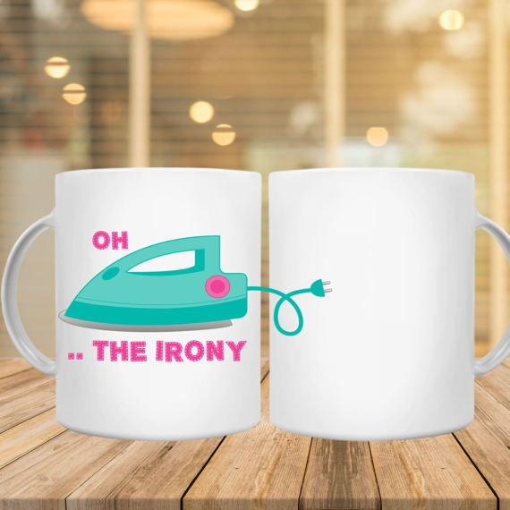 Oh.. The Irony / 15-Ounce Premium Coffee Mug/ by JamminThread