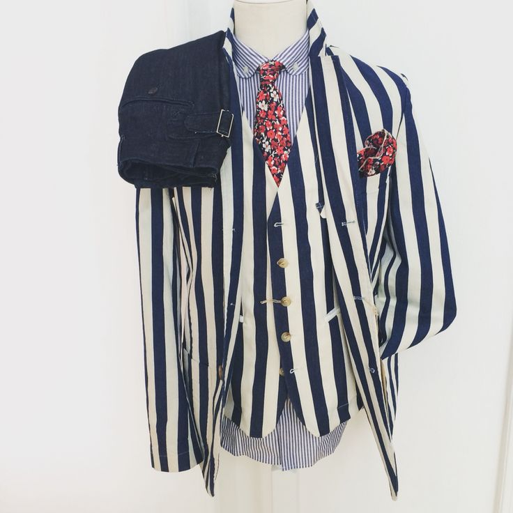 Ss16 striped denim suit by Mitchumm Ind.