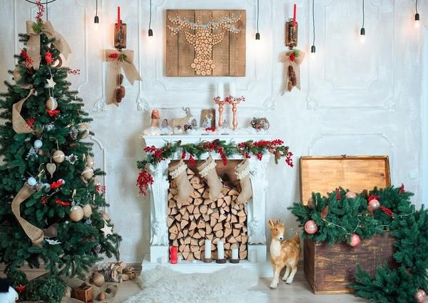 LB 7x5ft Christmas Fireplace Backdrop Xmas Tree Stove Wreath Santa Claus Backdrops for Photography Kids Family Party Event Portrait Photo Booth Studio Props