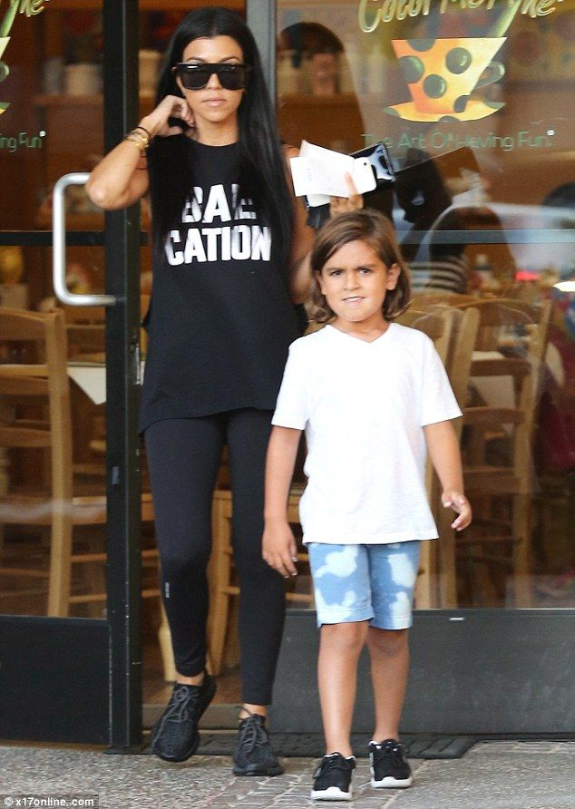 Like mother like son: It looks like Kourtney Kardashian's artistic touch has rubbed off on her son Mason. The reality star and lover of fashion was out with her five-year-old son at the art cafe, Color Me Mine, for some quality time on Friday