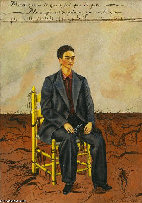 """Auto-retrato com cabelo curto"" por Frida Kahlo (1907-1954, Mexico)✖️More Pins Like This One At FOSTERGINGER @ Pinterest✖️"