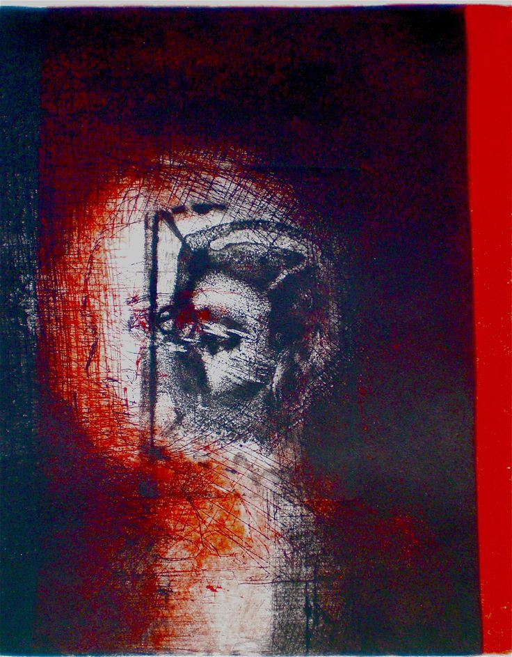 ELAINE d'ESTERRE - Encroaching Memory 2, 1/1, 2009, intaglio and drypoint 24x20 cm print, 35x28 cm paper by Elaine d'Esterre at http://elainedesterreart.com and http://www.facebook.com/elainedesterreart/ and http://instagram.com/desterreart/