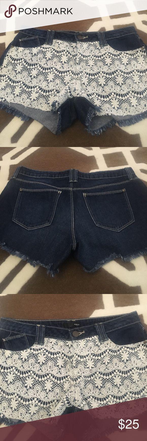 💙Adorable Aqua shorts💙 SO CUTE💙Aqua denim shorts with lace overlay and frayed edges! So cute for summer! Aqua Jeans