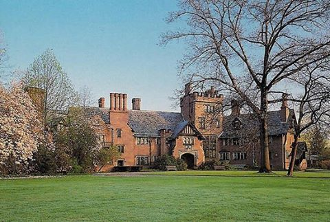 """Stan Hywet Hall, The estate was built between 1912 and 1915 for F. A. Seiberling, founder of the Goodyear Tire and Rubber Company, and his wife, Gertrude Penfield Seiberling. They gave it the name Stan Hywet, Old English for """"stone quarry"""" or """"stone hewn,"""" to reflect the site's earlier use and the most prominent feature of the estate. Architect Charles Sumner Schneider designed the Tudor Revival house, with Hugo F. Huber as interior decorator. Most of the furnishings came from New York City…"""