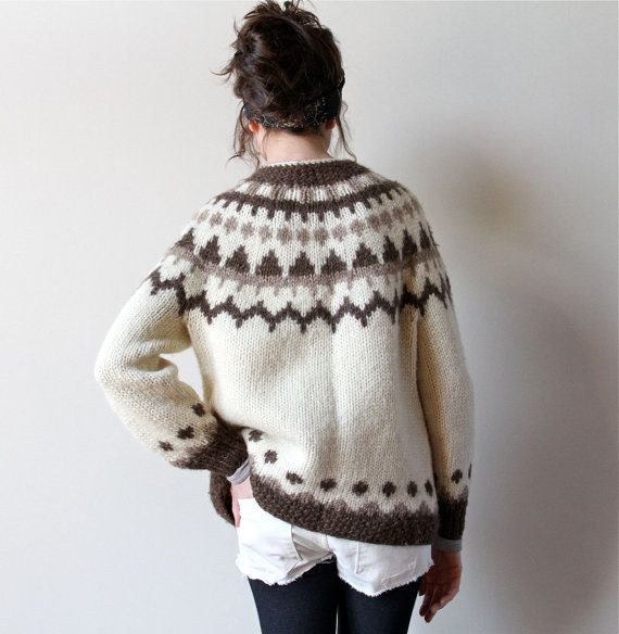 70s Neutral Icelandic Sweater, traditional wool cardigan Lopapeysa pattern in natural off-white cream, tan & brown, boho hippie 70s handknit...