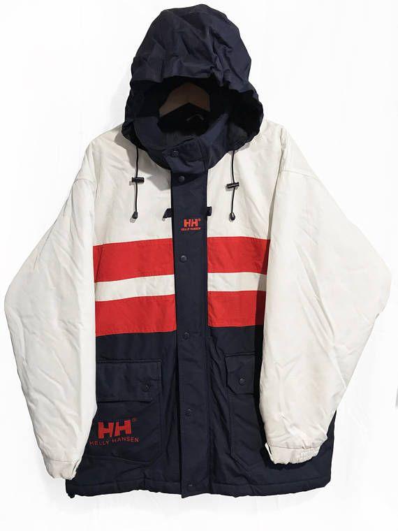 Vintage 90s Helly Hansen Hip Hop Style Qilted Sailing Jacket Hip Hop Fashion Jackets Retro Jacket