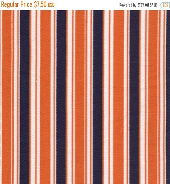 ON SALE - 10% Off Fabric Finders Navy Orange White Stripe Clothing Quilting Applique Fabric By The Yard