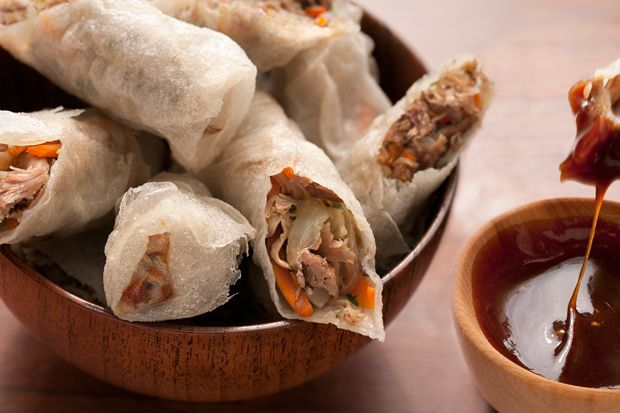 Duck Confit Fried Spring Rolls- Cook his duck girls... Duck hunting ...