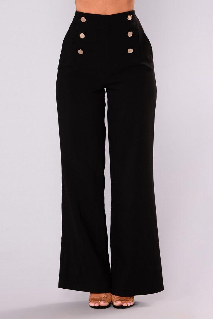 Josie Wide Leg Dressy Pants - Black