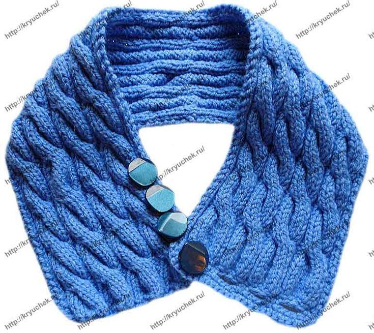 Пример связанного спицами шарфа – воротника «Синий иней» (2-ой вид)
