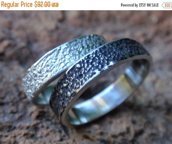 SALE 10% OFF wedding band set of 2 unisex sterling by preciousjd