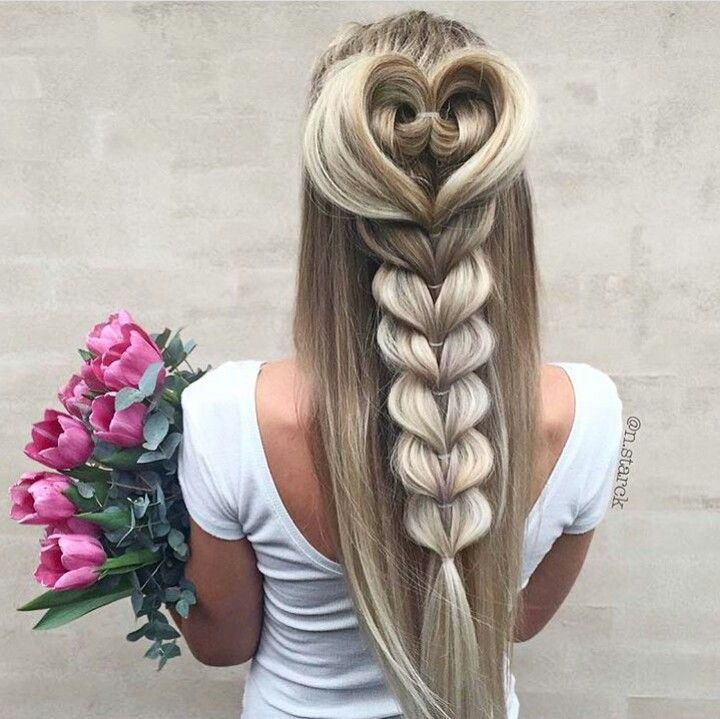 Thick heart braid  large heart on top followed by a braid in heart shape rest of pony