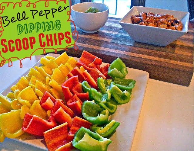 What a pretty idea for a party!  And just the red and green ones for Christmas??   Bell Pepper Scoop Chips
