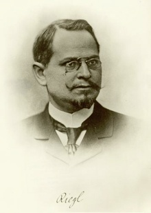 Alois Riegl (1858– 1905) was an Austrian art historian, and is considered a member of the Vienna School of Art History. He was one of the major figures in the establishment of art history as a self-sufficient academic discipline, and one of the most influential practitioners of formalism.