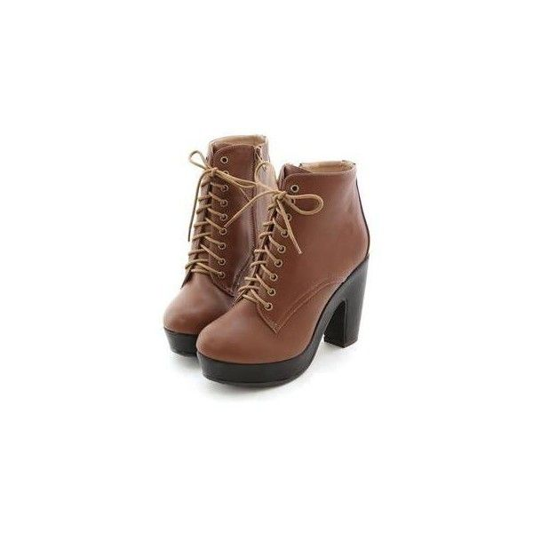Faux-Leather Platform Chunkly-Heel Boots ($137) ❤ liked on Polyvore featuring shoes, boots, heels, botas, footware, brown high heel boots, chunky black boots, faux leather boots, black boots and high heel shoes