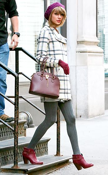 Whit and grey checked coat + grey tights and purple/ maroon beanie, gloves and handbag