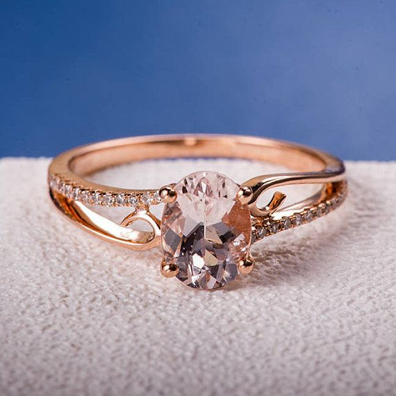Mothers Day Gift Morganite Engagement Ring Rose Gold Wedding Women Jewelry Antique Bridal Set Unique Pink Butterfly Anniversary Gift For Her