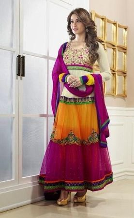 Bipasha Basu in Pink, Orange, White & Brown Mix Color Designer Bollywood Salwar Suit.