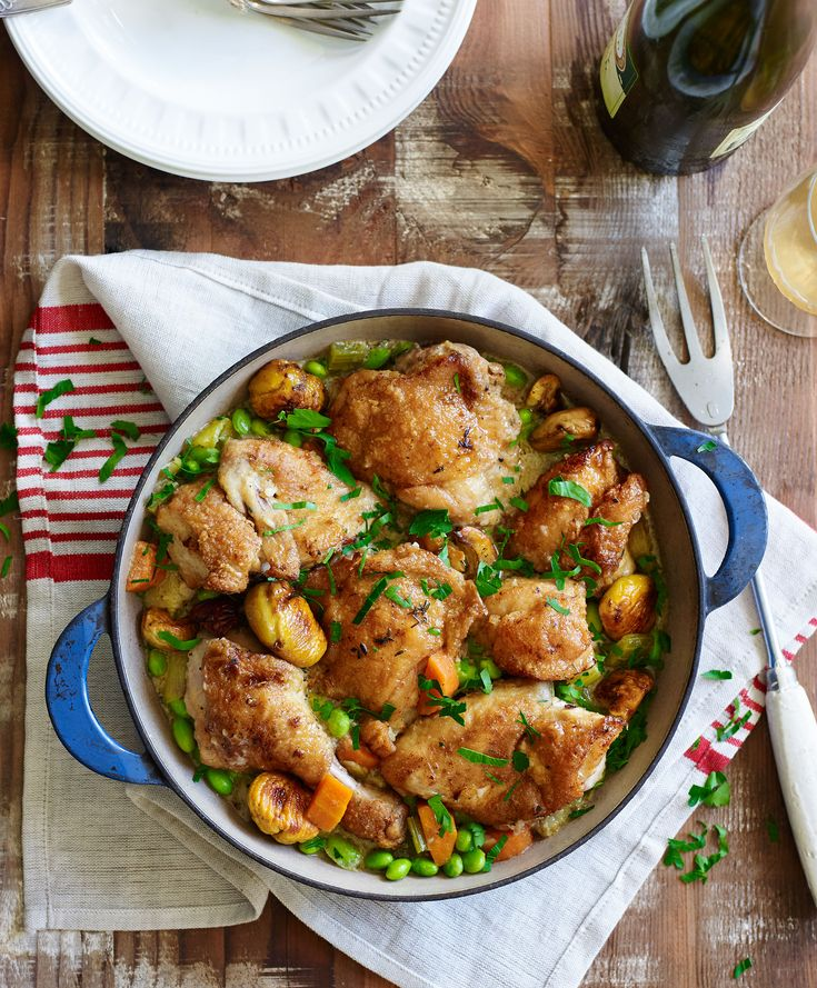 Chicken and chestnut fricasee :: Fast Ed
