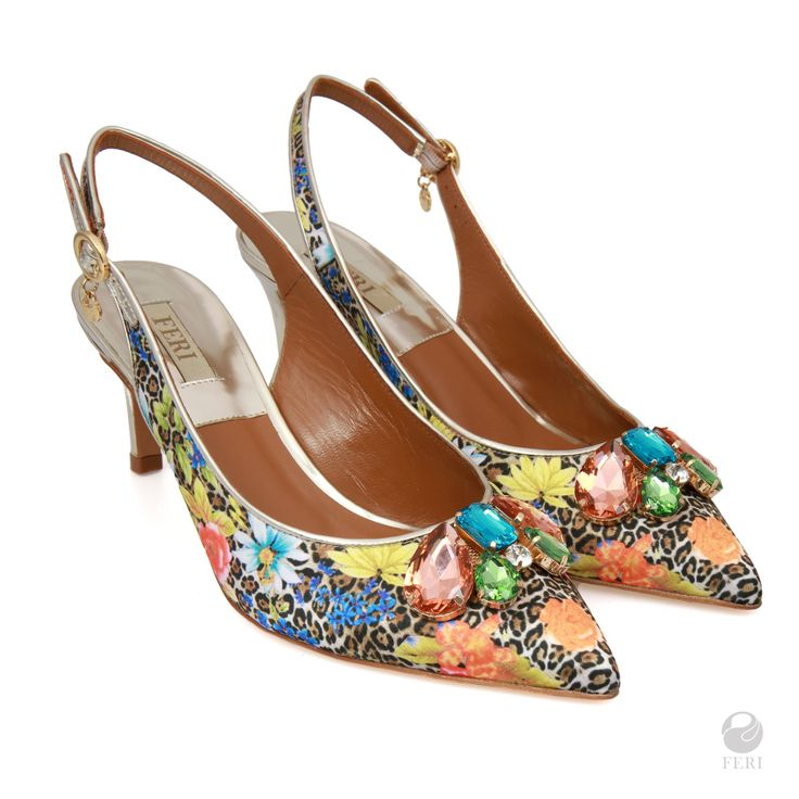 Ladies genuine leather pointed sling back heels, Floral Print, Embellished with pink, blue, green and clear stones by FeriStore on Etsy