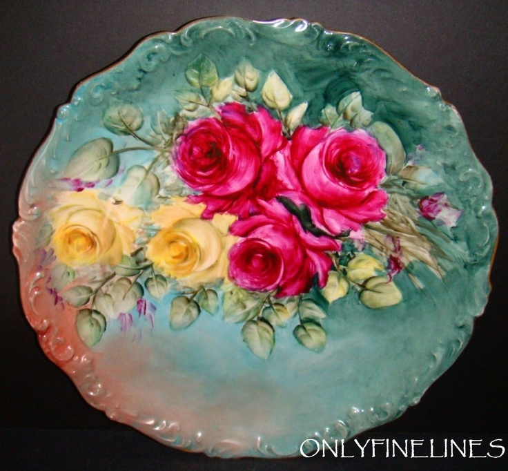 """GORGEOUS - 13 1/2"""" - T Limoges France - Charger - Plate - Hand Painted - Romantic Victorian Bouquet - Tea Roses - Artist Signed - Circa 1907 - One-of-a-Kind - French Antique Heirloom"""