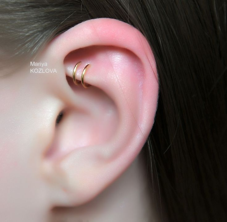 Gold Color The Greatest Cartilage Ear Cuff-Position 1! Ears and Nose Two Small Rings Cuff-piercing imitation-Helix Cartilage EarCuff. by LotEarCuffs on Etsy