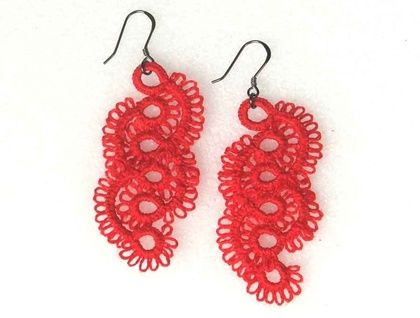 $100 Fluffy lace feather earrings in pepper red by Ngaio Rue from the Dawn collection www.ngaiorue.com
