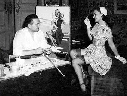 gil Elvgren working in his studio