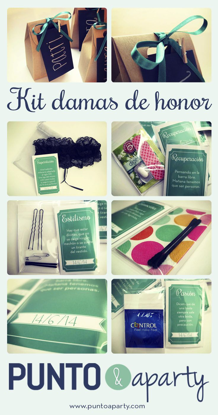 Gift set for the bridesmaids - Kit de regalo para las damas de honor | www.puntoaparty.com