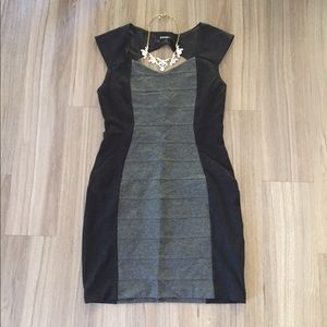 I just discovered this while shopping on Poshmark: Express Black & Grey Bodycon Dress. Check it out! Price: $20 Size: 10