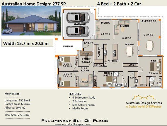 277 1m2 Modern Home Design 5 Bed Or 4 Bed Study 2 Bath Etsy House Plans For Sale House Plans Australia Affordable House Plans
