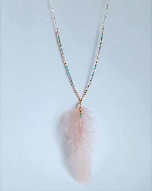 Boho Feather Necklace // Minimalist Pastel Necklace // Beaded Pastel Necklace on…