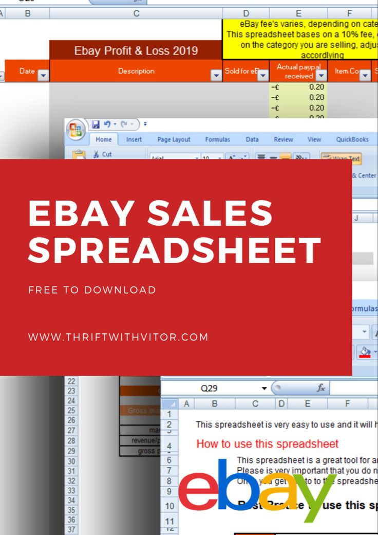 Free eBay spreadsheet with eBay Sales and P&L