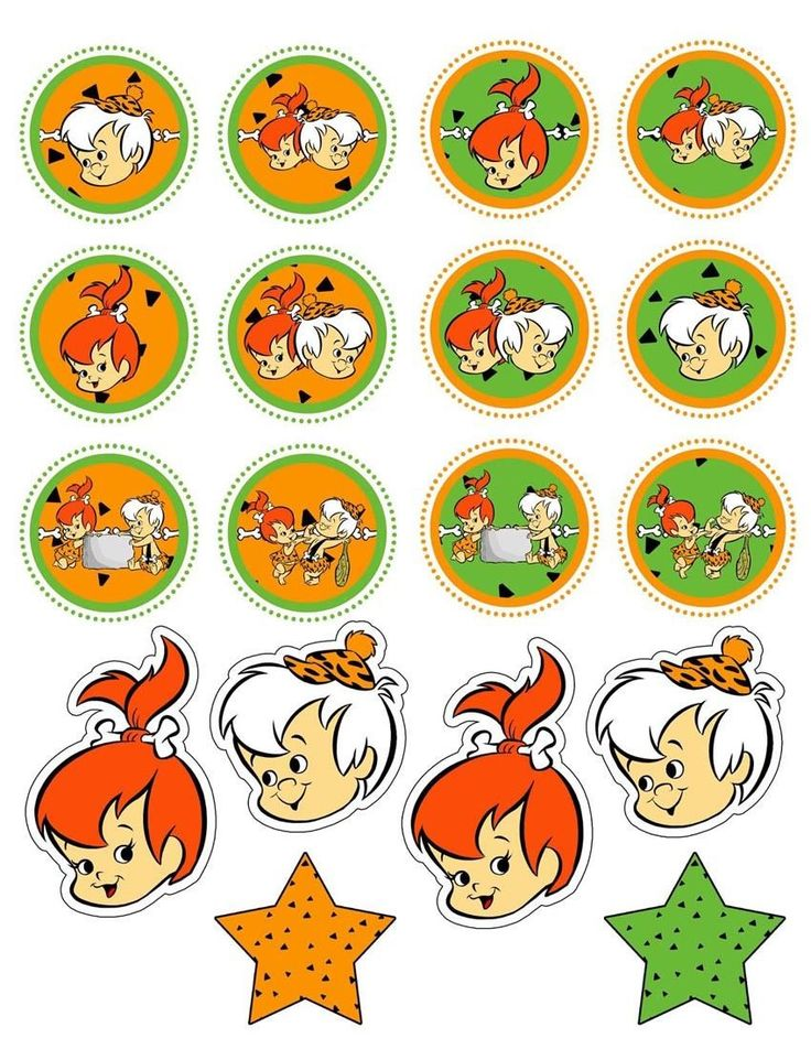 Pebbles Flintstone and Bamm-Bamm Rubble are featured in different images of our Edible Image Cupcake Topper set. A total of 18 toppers come with this variety pack. We can also customize the images tha