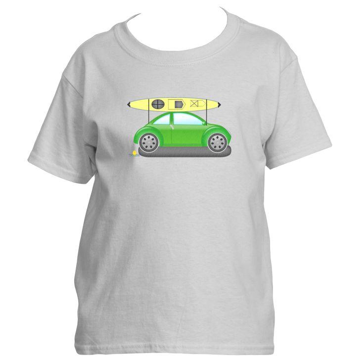 Green Bug with Yellow Kayak Short Sleeve T-shirt-Kid's
