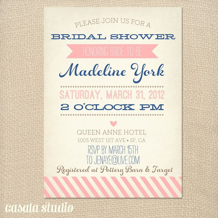 58 best Bridal shower invitations images on Pinterest Shower - bridal shower invitation samples