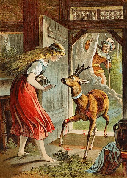 Grimms Fairytale 'Brother And Sister'- Her brother is turned into a Deer and she vows to care for him forever- he is injured by hunters / Illustrator Carl Offterdinger (German, 1829-1889)