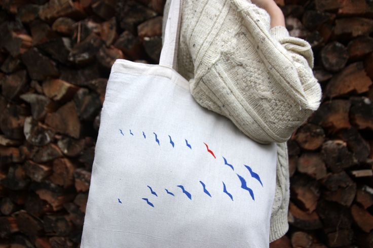 FLYING BIRDS PRINT, hand  printed cotton canvas bag, blue and red birds bag