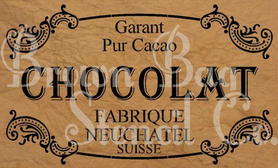 French Stencil CHOCOLAT 12x20 mylar by BrownBagStencilCo