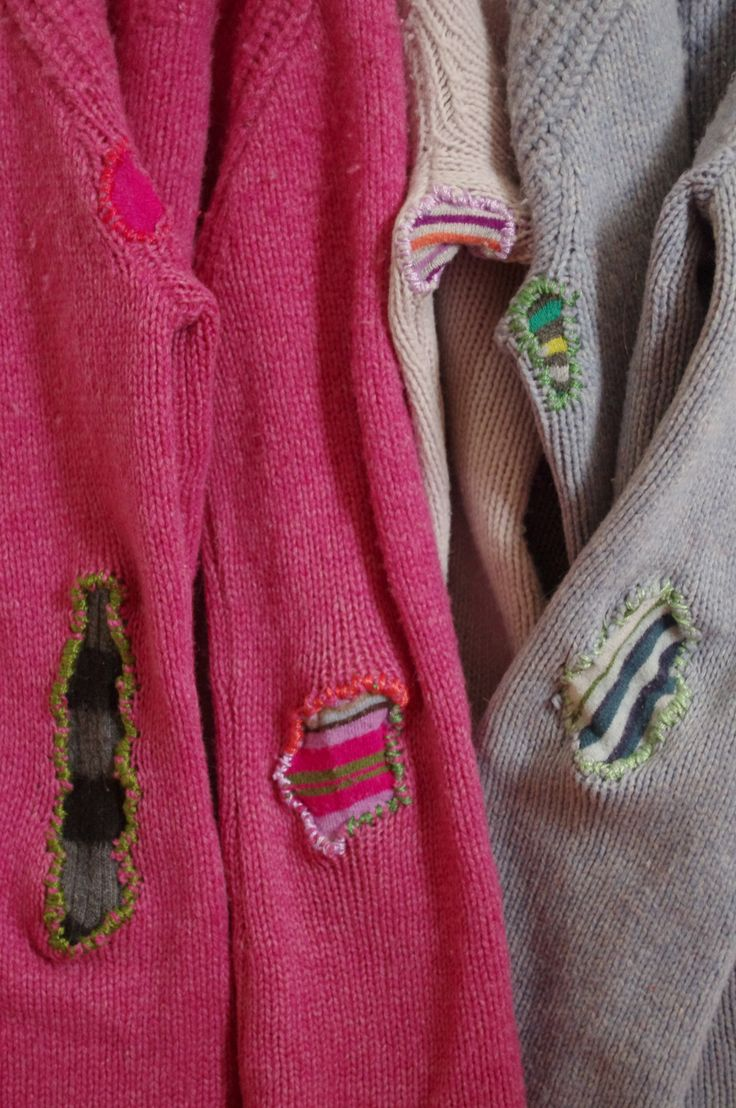 Mended sweaters. Gloucestershire Resource Centre http://www.grcltd.org/home-resource-centre/