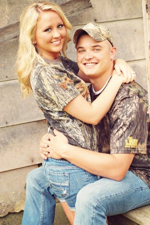 Totally doing this! Weve already decided we were going to wear matching camo shirts in our engagement pics :)