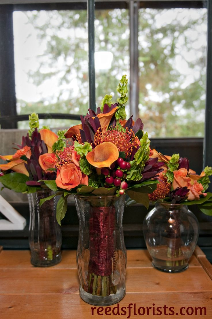 Bride, Maid of Honour, and Junior Bridesmaid bouquets. Rustic fall wedding. Autumn at it's best. Custom designed for our bride by our senior designers. reedsflorists.com