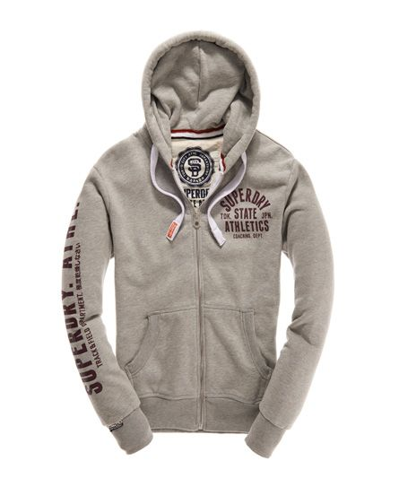 Mens - Track & Field Zip Hoodie in Grey Marl | Superdry