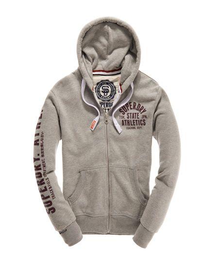 Mens - Track & Field Zip Hoodie in Grey Marl | Superdry