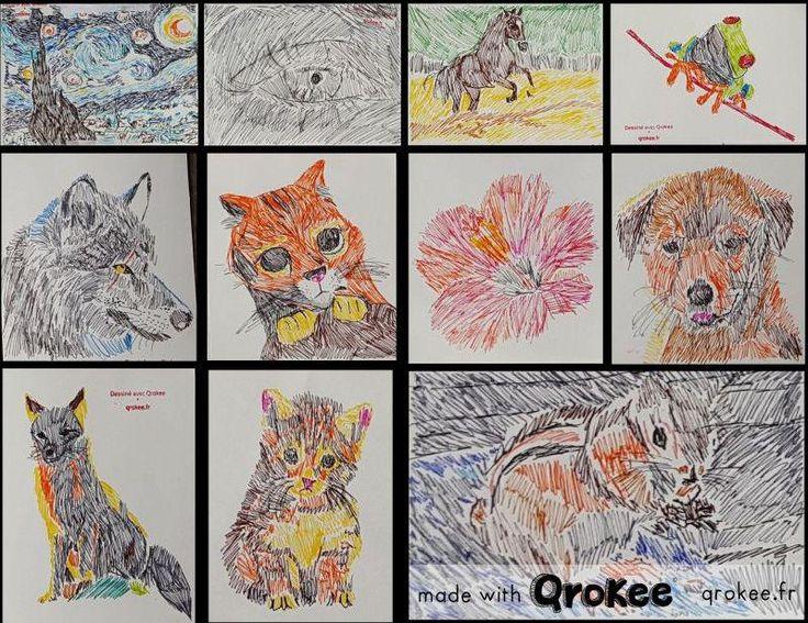 @STABILO_France Planche de dessins en style impressionniste réalisée à l'aide de #QroKee et de #Stabilo, Elia 12 ans