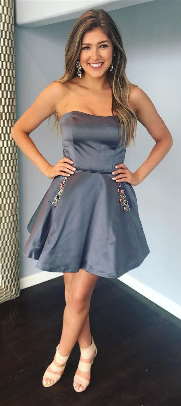 Aline satin beaded strapless cheap homecoming dresses with pocket
