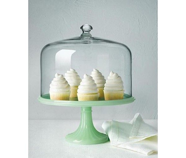 Martha Stewart Collection Jadeite-Colored Glass Cake Stand with Dome, Only at Macy's - Serveware - Dining & Entertaining - Macy's