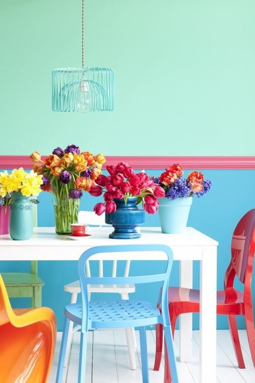 Love the colorful, mis-matched chairs