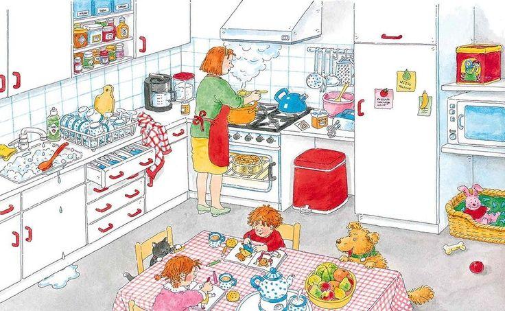 Praatplaat Bas - Keuken (Getekend door Dagmar Stam)